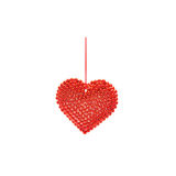 Christmas Heart with Red Ribbon Royalty Free Stock Images