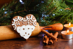 Christmas heart shape gingerbread with lace icing Stock Image