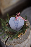 Christmas heart shaped deer decoration with pine wreath Stock Photo