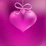 Christmas heart shaped pink bauble.  + EPS8. Christmas heart shaped pink bauble with ribbon and bow.  + EPS8 vector file Stock Images