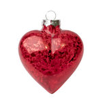 Christmas heart shaped red bauble light isolated on white backgr Stock Photos