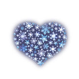 Christmas heart with snow flakes. Watercolor Stock Photography