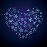 Christmas heart from snowflakes Royalty Free Stock Photography