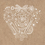 Christmas heart. Vector illustration with traditional festive elements on kraft paper. Christmas or New Year background in a heart shape elements of the royalty free stock images