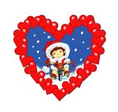 Christmas, a heart of wishes. A heart frame with inside a tender baby that wishes Merry Christmas Royalty Free Stock Photography