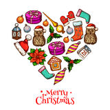 Christmas heart with xmas sketches poster design Royalty Free Stock Photography