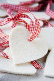 Christmas hearts. Handmade christmastree decorations waiting to be hanged Stock Image