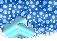 Christmas hearts. Christmas blue background with hearts.Holiday card Stock Photo