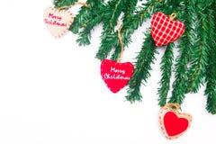 Christmas hearts and Christmas tree Royalty Free Stock Photos