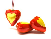 Christmas hearts and ornaments Stock Image
