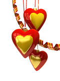 Christmas hearts and ornaments Royalty Free Stock Image