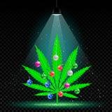 Christmas hemp tree lamp snow. Christmas hemp tree with holiday balls grows in lamp lights. Snow falls on background. Growing cannabis marijuana plant with royalty free illustration