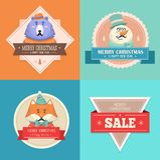 Christmas hipster animals. Sale card. Stock Photos