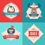 Christmas hipster animals. Sale card. Stock Images