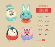 Christmas hipster animals. Vector illustration Stock Images