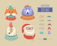 Christmas hipster animals. Vector illustration Royalty Free Stock Photos