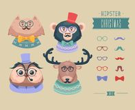 Christmas hipster animals. Vector illustration Stock Image