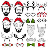 Christmas Hipster Faces Set Stock Images