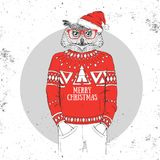 Christmas Hipster fashion bird owl dressed a New Year hat. And pullover vector illustration