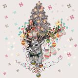 Christmas Hipster Illustration, Cute Vector Greeting Card Stock Photo