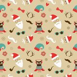 Christmas Hipster Retro Seamless Pattern Royalty Free Stock Image