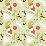 Christmas Hipster Retro Seamless Pattern Royalty Free Stock Photos