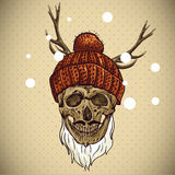 Christmas Hipster Skull. Winter illustration Stock Photo
