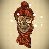 Christmas Hipster Skull. Winter illustration Royalty Free Stock Images