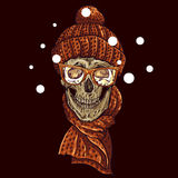 Christmas Hipster Skull. Winter illustration Royalty Free Stock Photos