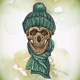 Christmas Hipster Skull. Winter illustration Stock Photos