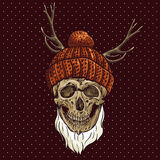 Christmas Hipster Skull. Winter illustration Stock Image