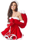 Christmas hispanic woman wearing a santa hat Royalty Free Stock Photos