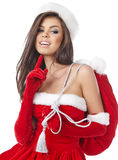 Christmas hispanic woman wearing a santa hat Stock Image