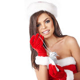 Christmas hispanic woman wearing a santa hat Stock Photography