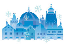 Christmas_historical_town. Vector illustration of lovely historical winter town Stock Photo