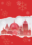 Christmas Historical town background. Winter Historical town on the red christmas decorative  background. Vector illustration Royalty Free Stock Photo