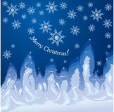Christmas hoarfrost background on window glass Stock Images