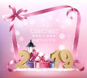Christmas holiday background with 2019 and pink ribbon. vector illustration