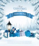 Christmas holiday background with a blue ribbon vector illustration