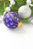 Christmas Holiday Background with Blue and Silver Baubles, Decorations, Balls and Garland. New Year Art Design Royalty Free Stock Photos
