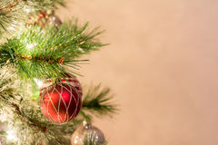 Christmas holiday background, Christmas tree with bubble ornaments and lights. Holiday Background stock photos