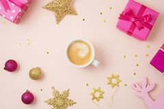 Christmas holiday background with coffee cup royalty free stock photos