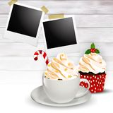 Christmas holiday background with coffee, cupcake and polaroid frames stock image