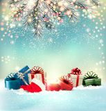 Christmas holiday background with colorful presents stock illustration