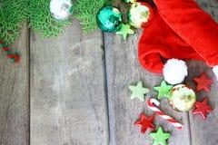 Christmas holiday background. Christmas holiday decoration on wooden background stock images