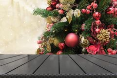 Christmas holiday background with empty tabletop. Image for display your product royalty free stock photos