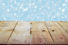 Christmas holiday background with empty wooden deck table Royalty Free Stock Photos