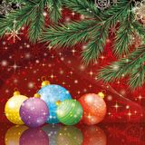 Christmas holiday background. With fir branches, balls, stars and snowflakes. Eps10, contains transparencies Royalty Free Stock Image
