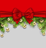 Christmas Holiday Background with Fir Twigs and Golden Glass Balls Stock Photo