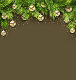 Christmas Holiday Background with Fir Twigs and Golden Glass Balls Stock Photography